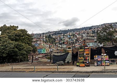 Colorful Buildings Of The Unesco World Heritage City Of Valparaiso Poor Neighbourhood, Chile, South