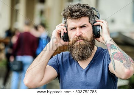 Hipster Enjoy Excellent Sound Song In Earphones. Excellent Music Playlist. Walking With Music. Music