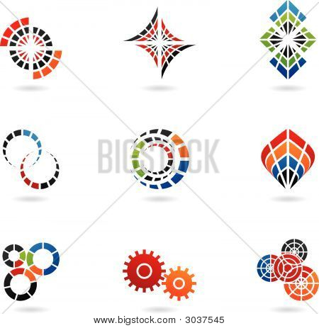 geometric shapes and various graphic design elements (set of 9) poster