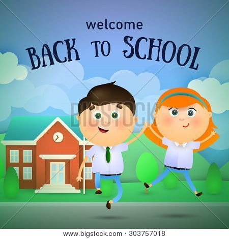 Welcome Back To School Lettering, Happy Boy And Girl Jumping. Offer Or Sale Advertising Design. Type