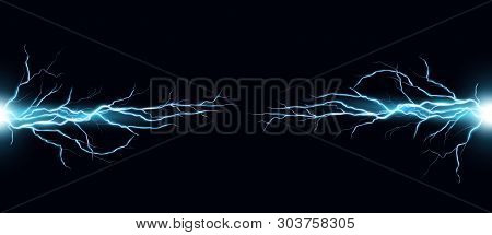 Vector Illustration Of Electric Discharge Shocked Effect On Black Background. Power Electrical Energ