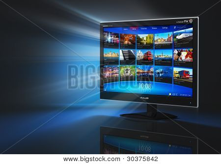 Internet and telecommunication concept: black glossy widescreen high definition tv screen with streaming video gallery poster