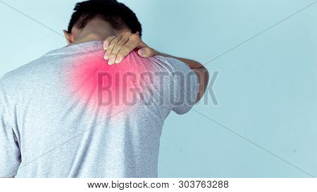 Man Suffering From Backache,lower Back Pain.concept With Healthcare. - Image