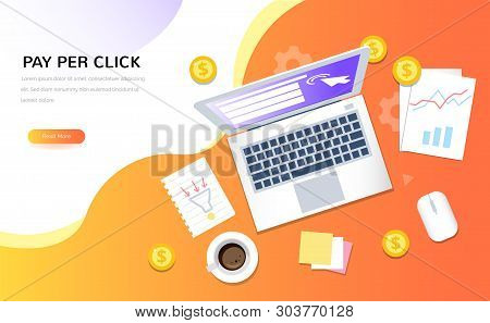Top View Of Internet Advertising Symbols. Pay Per Click Vector Concept. Creative Business Illustrati