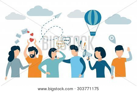Social Network And Teamwork Concept For Web And Infographic. Flat Design Style Modern Vector Illustr