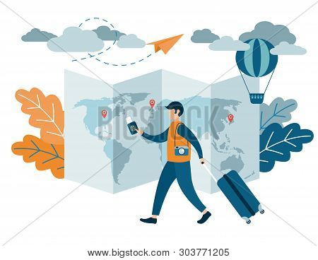 People Traveling Design. A Man With A Suitcase Holding A Passport And Airline Tickets. Flat Vector I