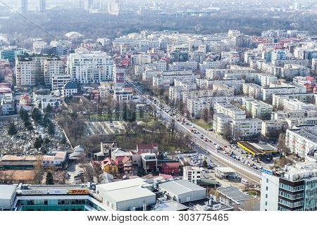 Bucharest, Romania - March  08, 2019: Aerial View Of The Noth Side Of Bucharest.