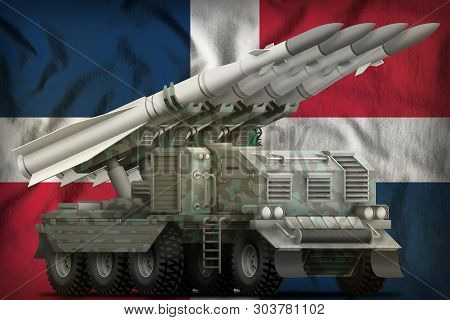 Tactical Short Range Ballistic Missile With Arctic Camouflage On The Dominican Republic Flag Backgro