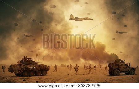 Military Helicopters, Forces And Tanks Between Storm And Dust In Desert To Reach Battlefield.