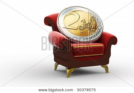 Two-Euro Coin On The Throne