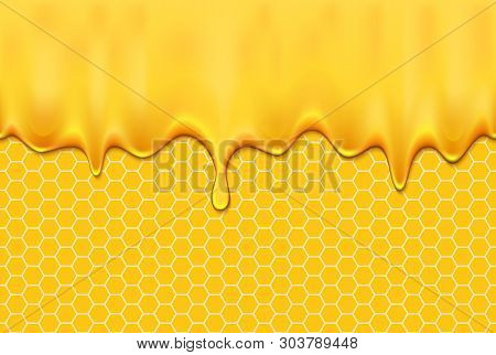 Honey Dripping Seamless Pattern. Realistic Flowing Honey On A White Background.
