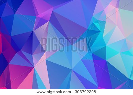 Low Poly Kaleidoscope Vector Background With Gradient Triangle Shapes. Geometric Mosaic Trendy Patte