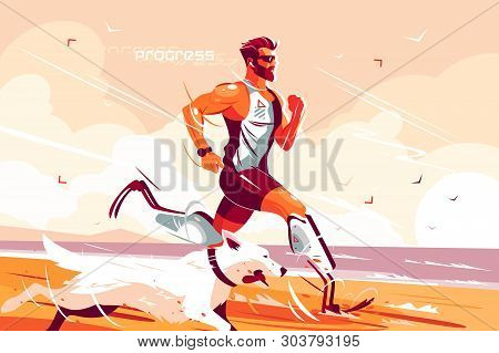 Man With Prosthetic Legs Running On Seashore