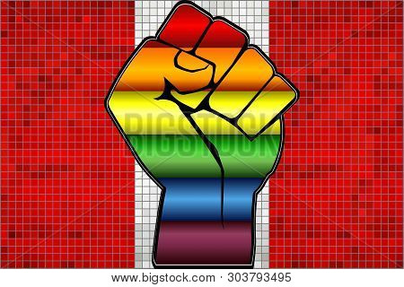 Shiny Lgbt Protest Fist On A Peru Flag - Illustration,  Abstract Mosaic Peru And Gay Flags