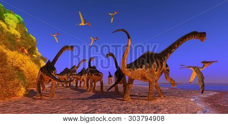 Europasaurus Dinosaur Beach 3d Illustration - A Pterodactylus Reptile Flies Too Close To A Europasau