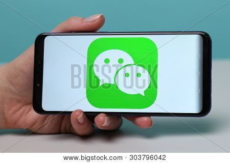 Tula, Russia - May 12 , 2019: Wechat On Phone Display.