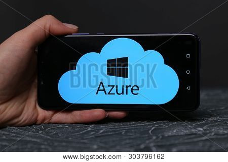 Tula, Russia - May 12 , 2019: Azure On Phone Display.