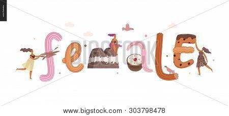 Dessert Lettering - Female - Modern Flat Vector Concept Digital Illustration Of Temptation Font, Swe