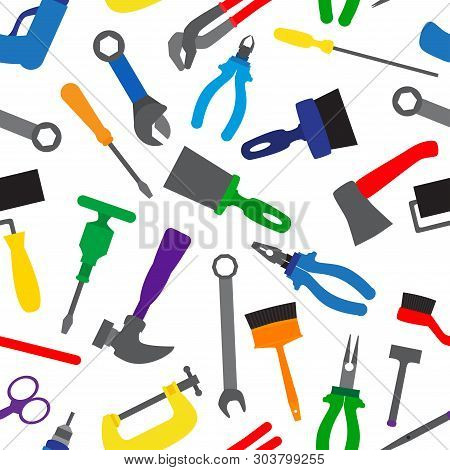 Seamless Pattern With Instruments And Tools. Colorful Repair Tools Repetitive Pattern. Vector Illust