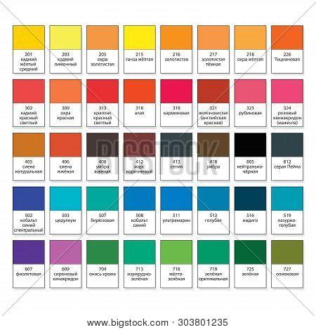 Aquarelle Basic Palette, Set N40. Main Watercolor Essential Pigment Samples With Catalogue Swatch Nu