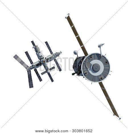 The Spacecraft Flies To Space Station Isolated On White Background. 3d Illustration.
