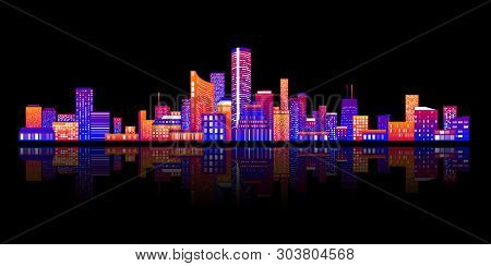 Horizontal City Scape With Colorful Various Buildings With Little Windows On  Dark Backgrounds. City