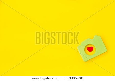 Blogger Concept With Photo Camera On Yellow Background Top View Mockup
