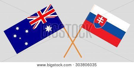 Australia And Slovakia. The Australian And Slovakian Flags. Official Colors. Correct Proportion. Vec