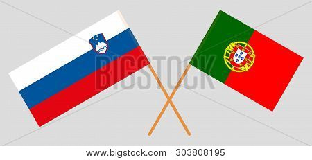 Slovenia and Portugal. The Slovenian and Portuguese flags. Official colors. Correct proportion. Vector illustration poster