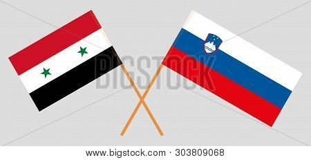 Slovenia And Syria. The Slovenian And Syrian Flags. Official Colors. Correct Proportion. Vector Illu