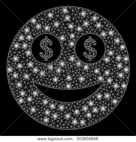 Bright Mesh Business Smiley With Glare Effect. Abstract Illuminated Model Of Business Smiley Icon. S