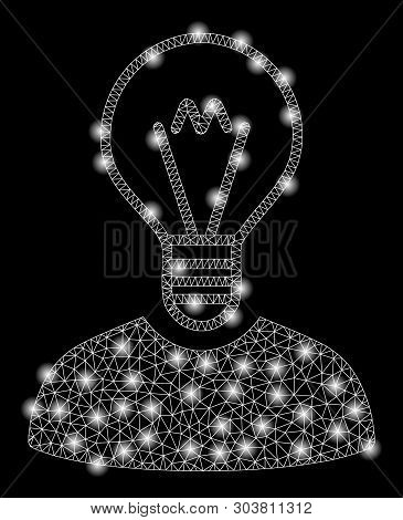 Bright Mesh Bulb Inventor With Glare Effect. Abstract Illuminated Model Of Bulb Inventor Icon. Shiny