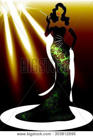 Template Shop Logo Fashion Woman, Silhouette Diva And Spotlight. Company Brand Name Design, Beautifu