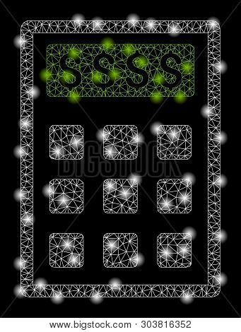 Bright Mesh Book-keeping Calculator With Lightspot Effect. Abstract Illuminated Model Of Book-keepin