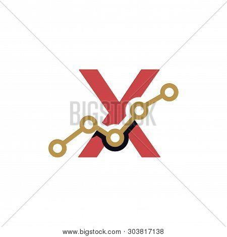 X Letter Business Stats Logo Design Element. logo Vector Template poster