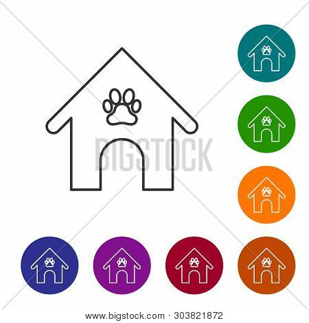 Grey Dog house and paw print pet line icon isolated on white background. Dog kennel. Set icon in color circle buttons. Vector Illustration poster