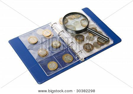 Album For Coins And Magnifying Glass