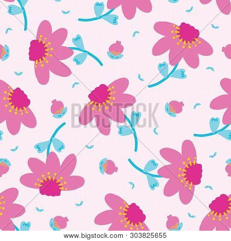 Bright Summer Daisy Flower Bloom Seamless Pattern. Stylized Retro Floral All Over Print. Pretty 1950