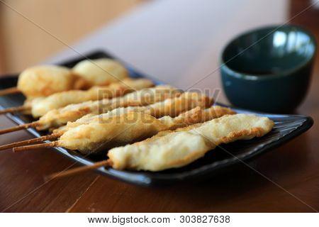 Kushikatsu Japanese Fried On Wooden Table