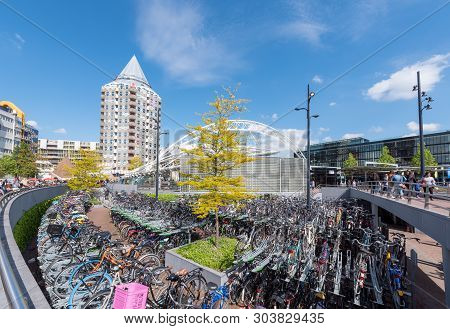 Rotterdam, Netherlands - May 11, 2019 : Bicycles Parking Near Blaak Station In The City Center On A