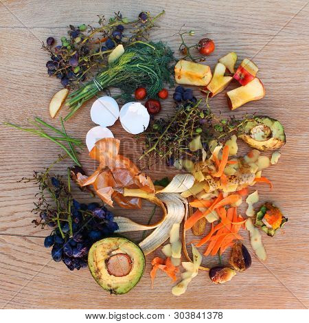 Domestic Waste For Compost From Fruits And Vegetables On The Table.