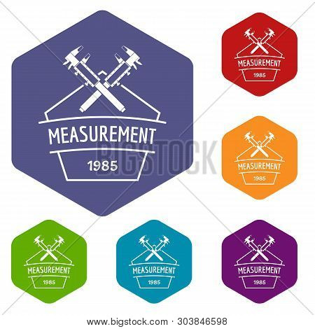 Vernier Caliper Icons Vector Colorful Hexahedron Set Collection Isolated On White