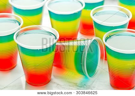 Colorful Striped Jelly On White Background, Rainbow Jelly For Kids Party