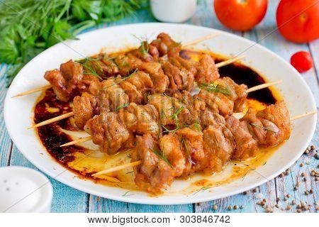 Grilled Meat Skewers Shish Kebab On Plate