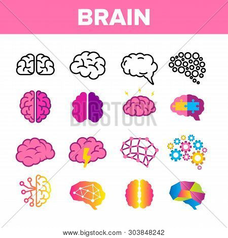 Brain, Neurology Organ Vector Linear Icons Set. Human Brain, Brain-shaped Stylized Speech Bubble Thi