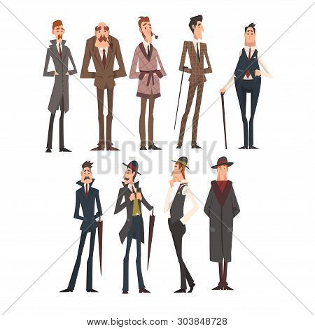 Victorian Gentlemen Characters Set, Rich And Successful Men In Elegant Suits Vector Illustration