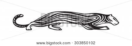 Stylized Silhouette Of Wildcat. Vector Animal Illustration, Black Isolated On White Background. Grap