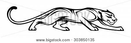 Stylized Silhouette Of Panther. Vector Animal Illustration, Black Isolated On White Background. Grap