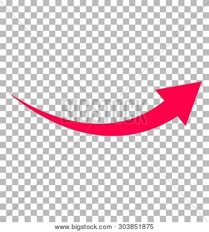 Red Arrow Icon On Transparent Background. Flat Style. Arrow Logo Concept. Arrow Icon For Your Web Si
