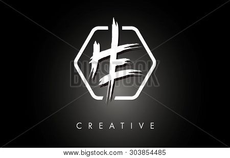 He H E Brushed Vector Letter Logo Design With Creative Modern Brush Lettering Texture And Hexagonal
